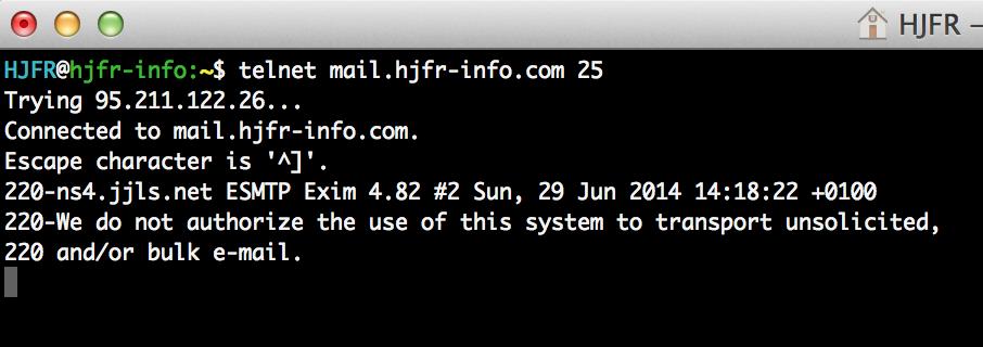 telnet SMTP Server 1